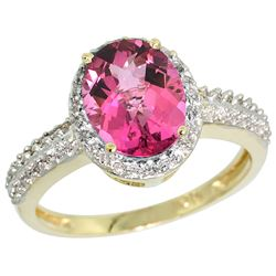 Natural 1.91 ctw Pink-topaz & Diamond Engagement Ring 10K Yellow Gold - REF-31A7V