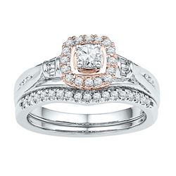 0.49 CTW Diamond Halo Bridal Wedding Engagement Ring 10KT Two-tone Gold - REF-59F9N