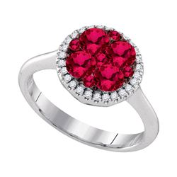 1.14 CTW Ruby Cluster Diamond Halo Bridal Ring 14KT White Gold - REF-112X5Y