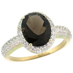 Natural 2.56 ctw Smoky-topaz & Diamond Engagement Ring 14K Yellow Gold - REF-42V2F