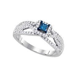 0.50 CTW Princess Blue Color Diamond Solitaire Bridal Ring 14KT White Gold - REF-71N9F