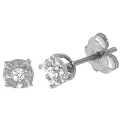 Genuine 0.06 ctw Diamond Anniversary Earrings Jewelry 14KT White Gold - REF-24A3K