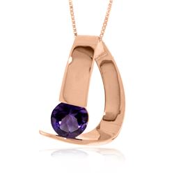 Genuine 1 ctw Amethyst Necklace Jewelry 14KT Rose Gold - REF-50N5R