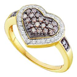 0.50 CTW Cognac-brown Color Diamond Framed Heart Cluster Ring 14KT Yellow Gold - REF-41K9W