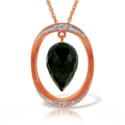 Genuine 12.35 ctw Black Spinel & Diamond Necklace Jewelry 14KT Rose Gold - REF-105T7A