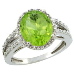 Natural 3.86 ctw Peridot & Diamond Engagement Ring 14K White Gold - REF-52N2G