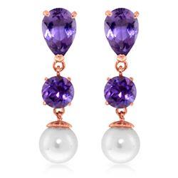 Genuine 10.50 ctw Amethyst & Pearl Earrings Jewelry 14KT Rose Gold - REF-40T9A