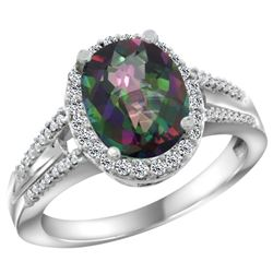Natural 2.72 ctw mystic-topaz & Diamond Engagement Ring 10K White Gold - REF-45A3V