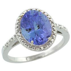 Natural 2.41 ctw Tanzanite & Diamond Engagement Ring 14K White Gold - REF-81R3Z