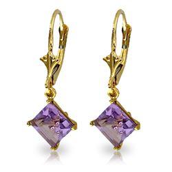 Genuine 3.2 ctw Amethyst Earrings Jewelry 14KT Yellow Gold - REF-30R2P
