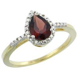Natural 1.53 ctw garnet & Diamond Engagement Ring 14K Yellow Gold - REF-25N5G