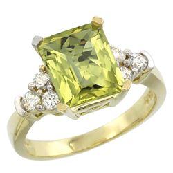 Natural 2.86 ctw lemon-quartz & Diamond Engagement Ring 10K Yellow Gold - REF-52K7R