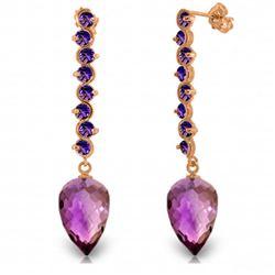 Genuine 22.1 ctw Amethyst Earrings Jewelry 14KT Rose Gold - REF-69T2A