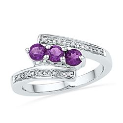 0.54 CTW Created Amethyst 3-stone Bypass Ring 10KT White Gold - REF-22M4H