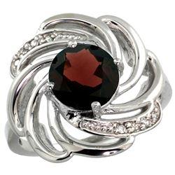 Natural 2.25 ctw garnet & Diamond Engagement Ring 14K White Gold - REF-58V9F