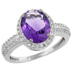 Natural 2.56 ctw Amethyst & Diamond Engagement Ring 14K White Gold - REF-42R2Z