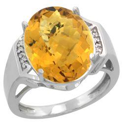 Natural 11.02 ctw Whisky-quartz & Diamond Engagement Ring 14K White Gold - REF-60W3K