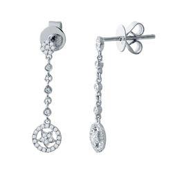 0.21 CTW Diamond Earrings 14K White Gold - REF-20R3K