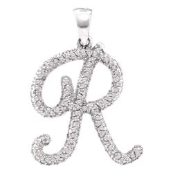 0.17 CTW Diamond Cursive Letter R Pendant 10KT White Gold - REF-14W9K