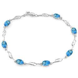 Genuine 3.39 ctw Blue Topaz & Diamond Bracelet Jewelry 14KT White Gold - REF-82K5V
