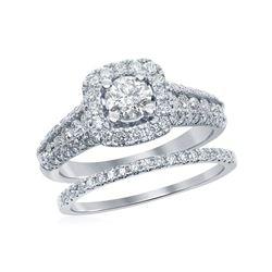 1.5 CTW Diamond Bridal Wedding Engagement Ring 14KT White Gold - REF-240Y2X