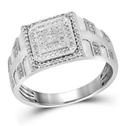 0.33 CTW Mens Diamond Square Cluster Textured Ring 10KT White Gold - REF-41K3W