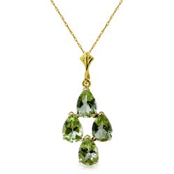 Genuine 2.25 ctw Peridot Necklace Jewelry 14KT Yellow Gold - REF-20T4A