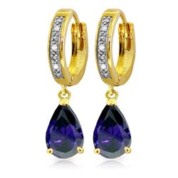 Genuine 3.53 ctw Sapphire & Diamond Earrings Jewelry 14KT Yellow Gold - REF-73M2T