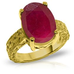Genuine 8 ctw Ruby Ring Jewelry 14KT Yellow Gold - REF-165M4T