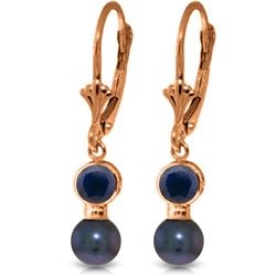 Genuine 5.2 ctw Sapphire & Black Pearl Earrings Jewelry 14KT Rose Gold - REF-27N4R