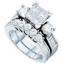 1.5 CTW Princess Diamond Bridal Engagement Ring 14KT White Gold - REF-172H4M