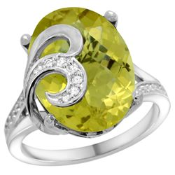 Natural 11.18 ctw lemon-quartz & Diamond Engagement Ring 14K White Gold - REF-76Y4X