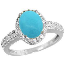 Natural 1.91 ctw Turquoise & Diamond Engagement Ring 14K White Gold - REF-43V5F