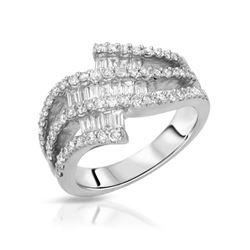 1.14 CTW Diamond Ring 18K White Gold - REF-125Y5X