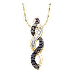 0.33 CTW Black Color Diamond Infinity Weave Pendant 14KT Yellow Gold - REF-18X2Y
