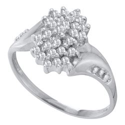0.25 CTW Prong-set Diamond Oval Cluster Ring 10KT White Gold - REF-16K4W