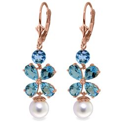 Genuine 6.28 ctw Blue Topaz & Pearl Earrings Jewelry 14KT Rose Gold - REF-49H8X