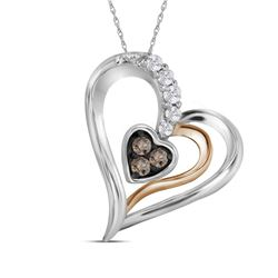 0.12 CTW Brown Color Diamond Heart Pendant 10KT Two-tone Gold - REF-12N2F