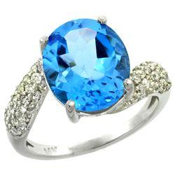 Natural 6.45 ctw swiss-blue-topaz & Diamond Engagement Ring 14K White Gold - REF-54N3G