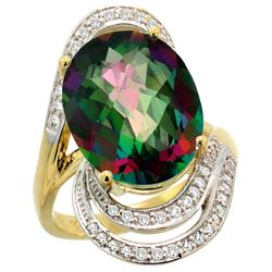 Natural 11.2 ctw mystic-topaz & Diamond Engagement Ring 14K Yellow Gold - REF-95Y8X