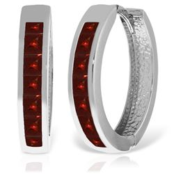Genuine 1.85 ctw Garnet Earrings Jewelry 14KT White Gold - REF-57T6A