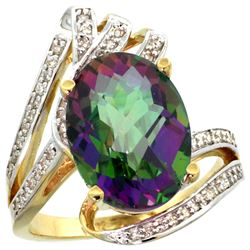 Natural 5.76 ctw mystic-topaz & Diamond Engagement Ring 14K Yellow Gold - REF-92R7Z