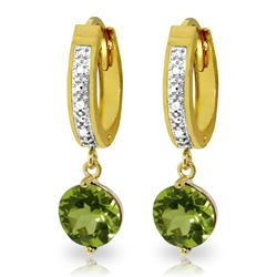 Genuine 2.63 ctw Peridot & Diamond Earrings Jewelry 14KT Yellow Gold - REF-56K2V