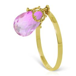 Genuine 3 ctw Pink Topaz Ring Jewelry 14KT Yellow Gold - REF-23K5V