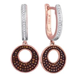 0.40 CTW Red Color Diamond Circle Dangle Earrings 10KT Rose Gold - REF-49N5F