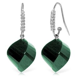 Genuine 30.68 ctw Green Sapphire Corundum & Diamond Earrings Jewelry 14KT White Gold - REF-67T3A