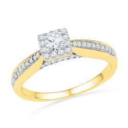 0.50 CTW Diamond Solitaire Square Bridal Engagement Ring 10KT Yellow Gold - REF-53Y9X