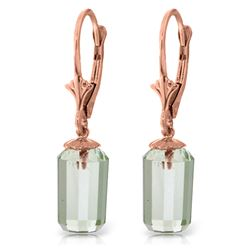 Genuine 9 ctw Green Amethyst Earrings Jewelry 14KT Rose Gold - REF-25W6Y