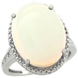 Natural 13.6 ctw Opal & Diamond Engagement Ring 10K White Gold - REF-66X4A