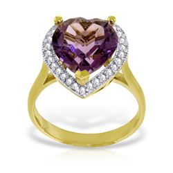 Genuine 3.24 ctw Amethyst & Diamond Ring Jewelry 14KT Yellow Gold - REF-66Y9F